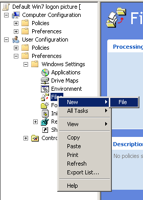 Create a new file in User Configuration->Preferences->Windows Settings->Files->New